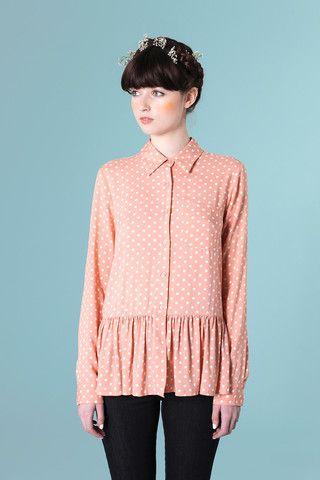 Peplum Polka Shirt Coral - THE WHITEPEPPER