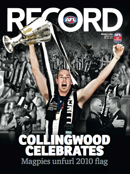 Unfurling of the 2010 premiership flag in round 3, 2011 (ahead of a win over Carlton)