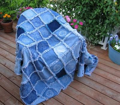Patchwork denim quilt from old jeans-Saved all my kids jeans as they outgrew them.