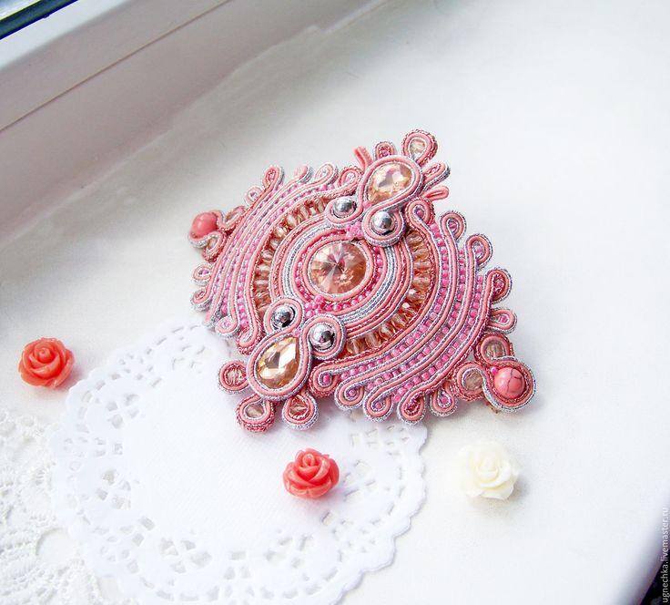 Купить Сутажный браслет девушке Коралловый пион - коралловый, браслет из сутажа, сутажный баслет