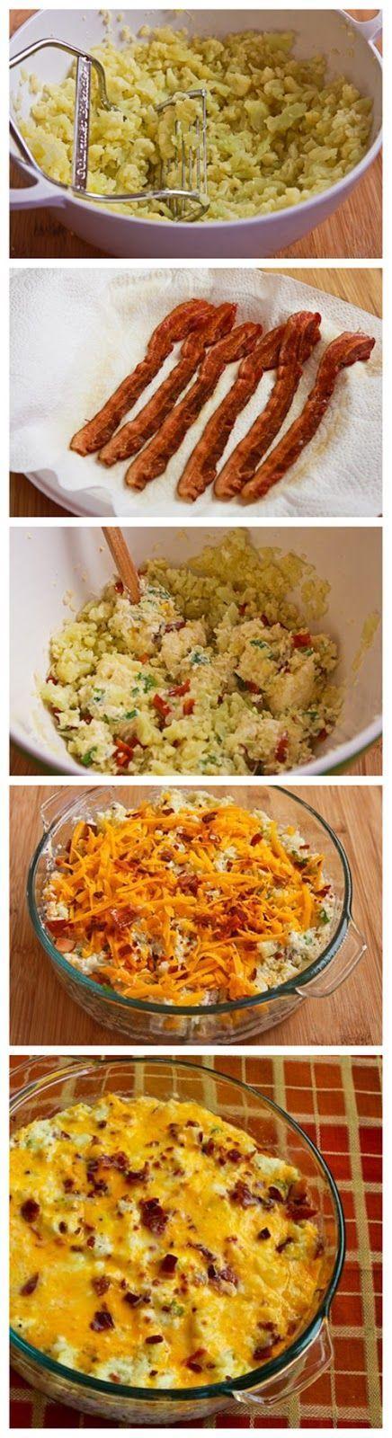 Twice Baked Cauliflower - a lighter alternative to twice baked potatoes