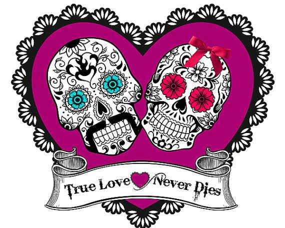 8x10 Printable Sugar Skulls Art Picture Print wedding Day of the dead True Love Never Dies Purple colorful sugar skull download