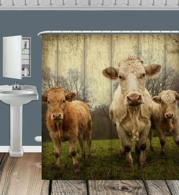 Primitive Rustic Shower Curtain Vintage Inspired  by FolkandFunky