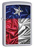 Zippo Lighter: Texas State Flag - Satin Chrome