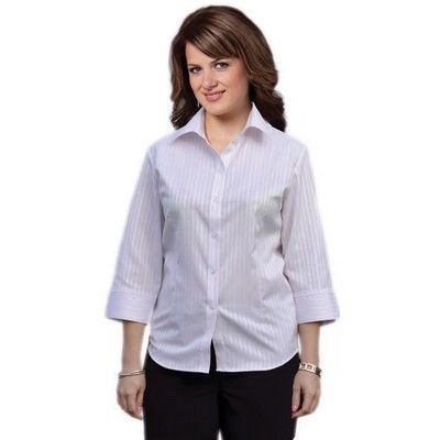 Womens One Toned Stripe 3/4 Sleeve Shirt Min 25 - Clothing - Business Shirts - Her Business Wear - WS-M81031 - Best Value Promotional items including Promotional Merchandise, Printed T shirts, Promotional Mugs, Promotional Clothing and Corporate Gifts from PROMOSXCHAGE - Melbourne, Sydney, Brisbane - Call 1800 PROMOS (776 667)