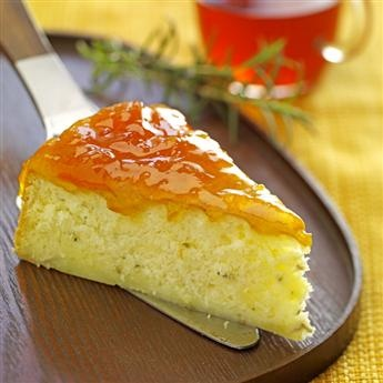 Warm Rosemary Brie Cake with Peach Preserves