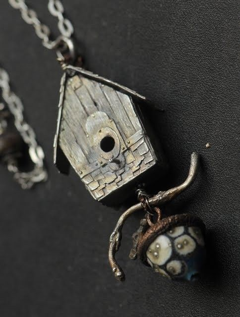 Birdhouse Necklace with an Artisan Glass acorn dangle by Christi Anderson