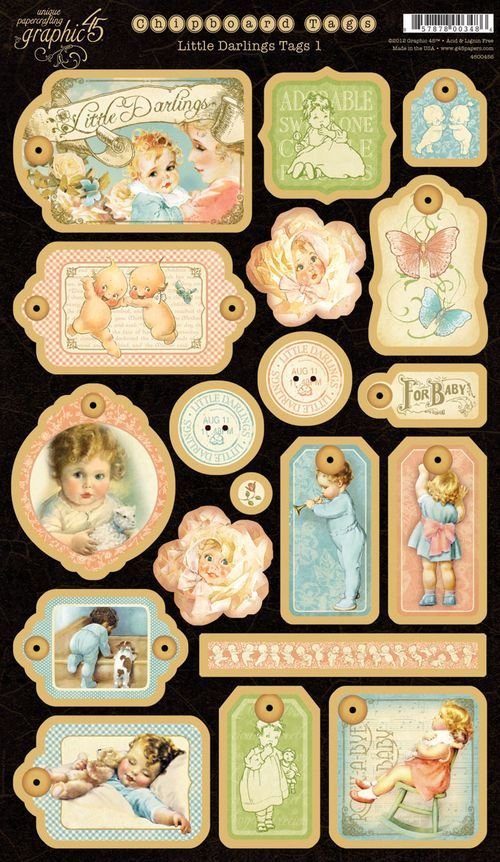 Graphic 45 Little Darlings chipboard and stickers -- this will make you want to pinch a baby's cheeks!