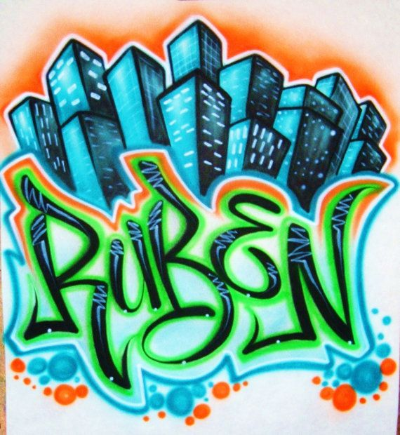 Airbrush T Shirt City Scene With Graffiti Style Name, Airbrush Graffiti Name, Grafitti Shirt, Airbrush Shirt, Airbrush Grafitti Shirt