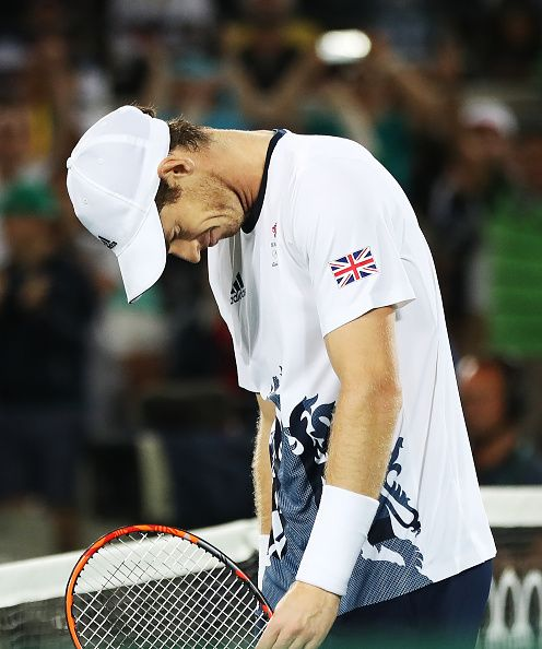 Andy Murray of Great Britain reacts after he wins the Men's singles Gold medal…