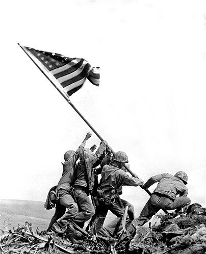 Joe Rosenthal's photo of Marines raising a US flag on Mount Suribachi during the World War II Battle of Iwo Jima in 1945 is one of the best-known images of the war.