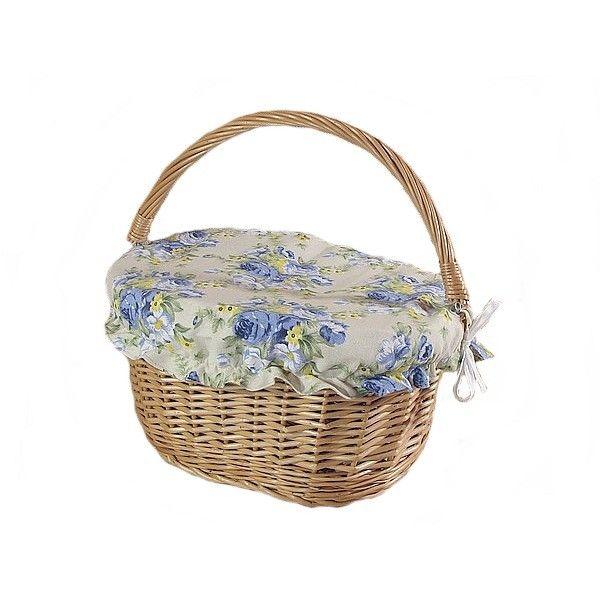 Wiklinowy kosz na rower prosty z materiałową pokrywą - wzór niebieska róża