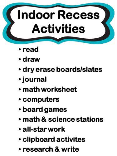 Editable indoor recess rule posters