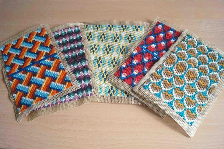 Deshilachado: Tarjeteros de bordado de tapiz / Bargello needlework card wallets