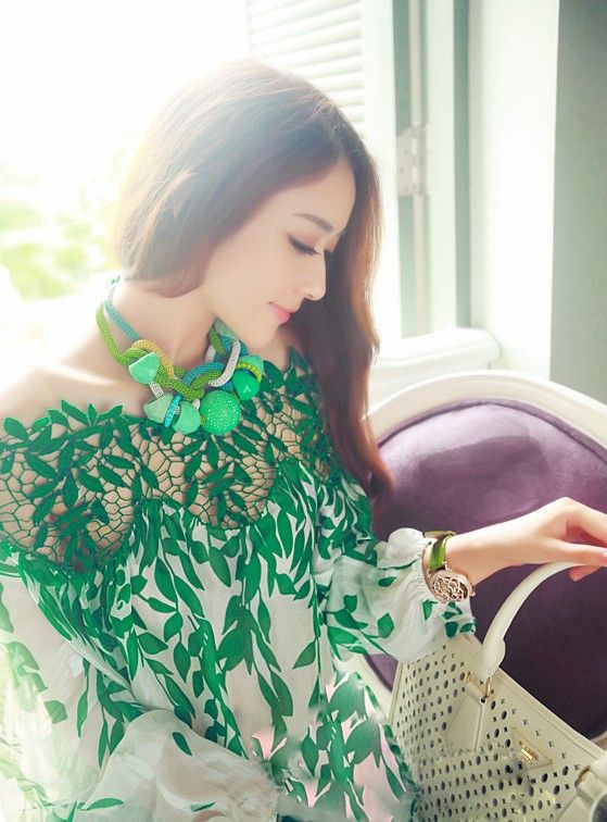 On sale at 15% OFF - Women Patchwork Chiffon Lace Blouses Long Sleeve Floral Lace Crochet Silk Blouse Shirt Spring Green Hollow Embroidery Lace Top