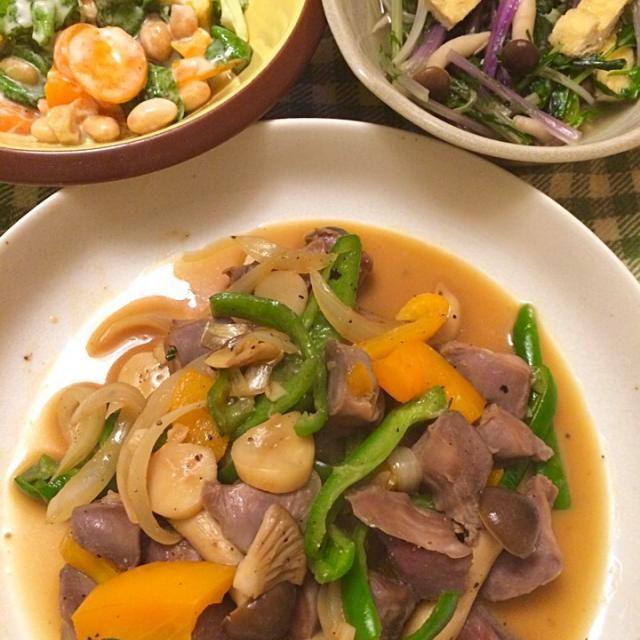 赤水菜煮浸し、鍋残り汁利用。 ヨーグルトソースサラダ、サラダ菜、豆、パプリカ、人参。 - 9件のもぐもぐ - 砂肝と野菜の旨塩炒め、鍋の残り汁利用。 by hiromange