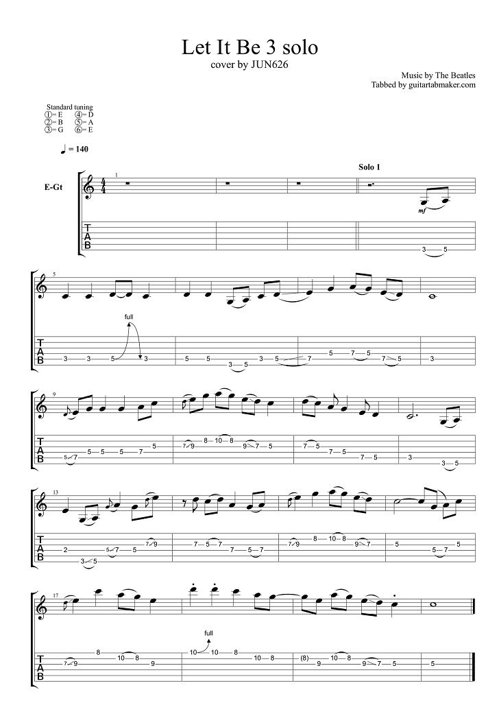 The Beatles Let It Be Solo Tab Pdf Guitar Tab Guitar Pro Tab Download Electric Guitar Solo Tabs Guitar Solo Guitar Tabs Let It Be