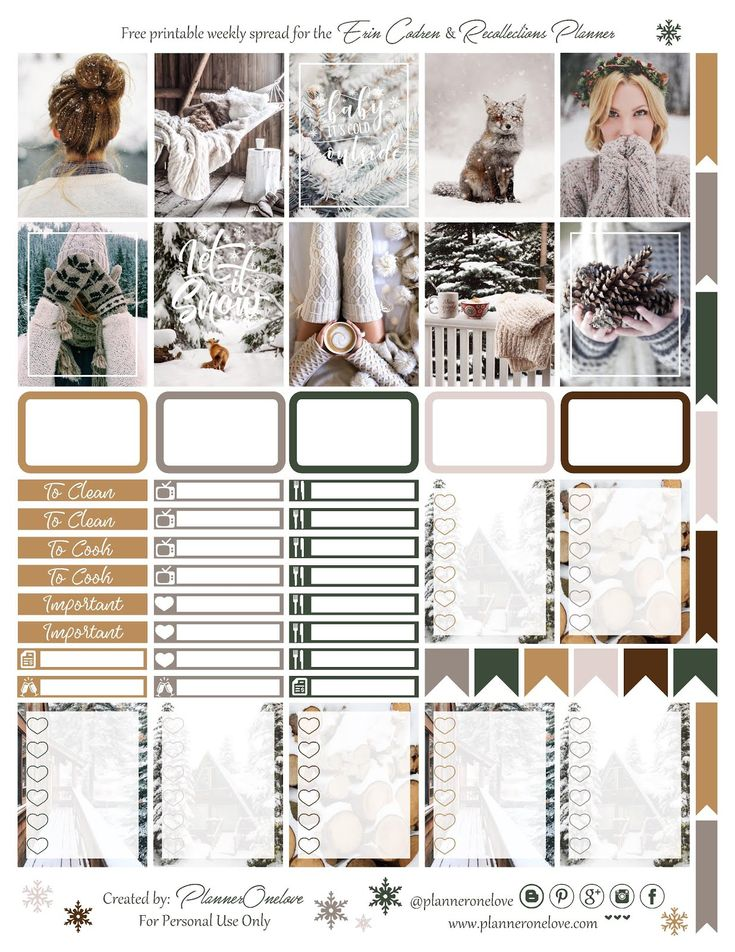 Free Winter Printable Planner Stickers from Planner Onelove