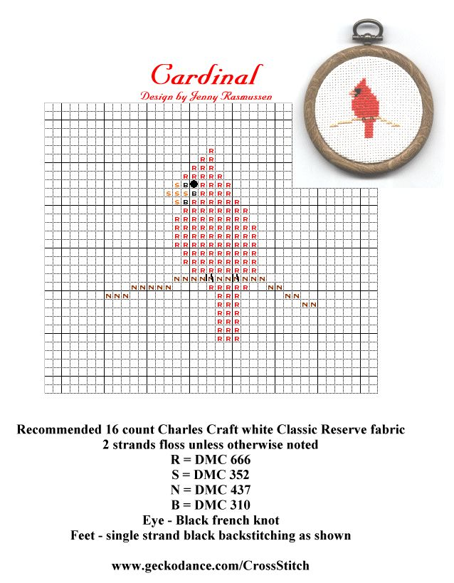 cardinal+cross+stitch+pattern | Cardinal Pattern