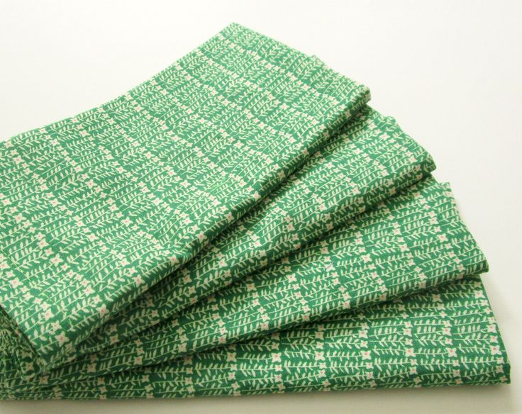 Cloth Napkins - Set of 4 - Organic - Green Floral, Rows of Tiny Flowers - Dinner, Table, Everyday, Wedding by ClearSkyHome on Etsy