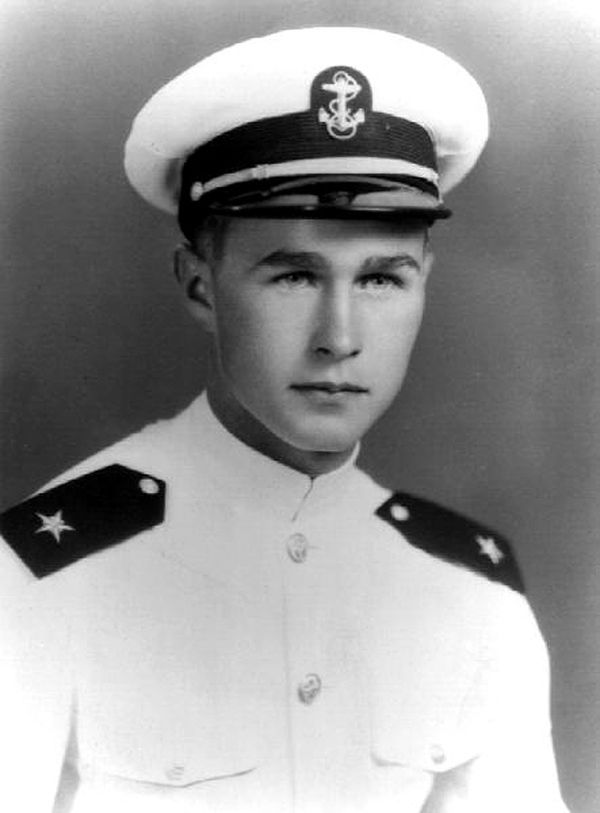Presidents in uniform: George H.W. Bush, US Navy pilot, WWII.