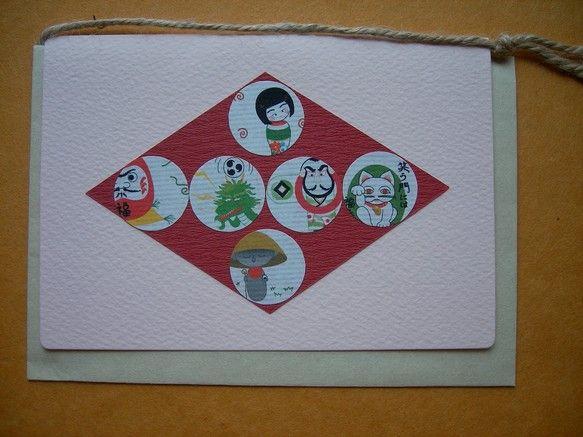 オリジナル和イラスト入りカードです。「こけし、ダルマ、龍、凧、招き猫、地蔵」のイラスト入り。カード:ピンク色と白色の2種類で表面が少しデコボコした厚紙    ...|ハンドメイド、手作り、手仕事品の通販・販売・購入ならCreema。
