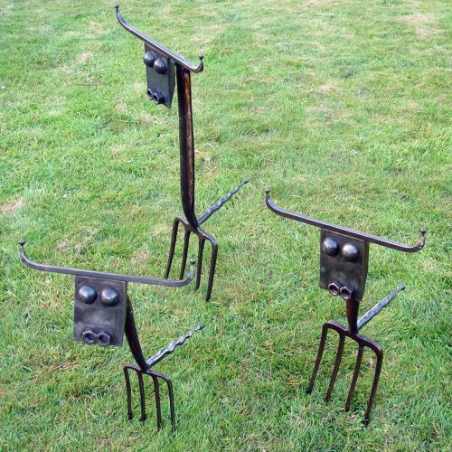 Rusted Steel And Recycled Garden Forks Abstract Garden Sculpture By Artist  Katie Lake Titled: U0027Lawn Cows (Amusing Recycled Semi Abstract Statues)u0027