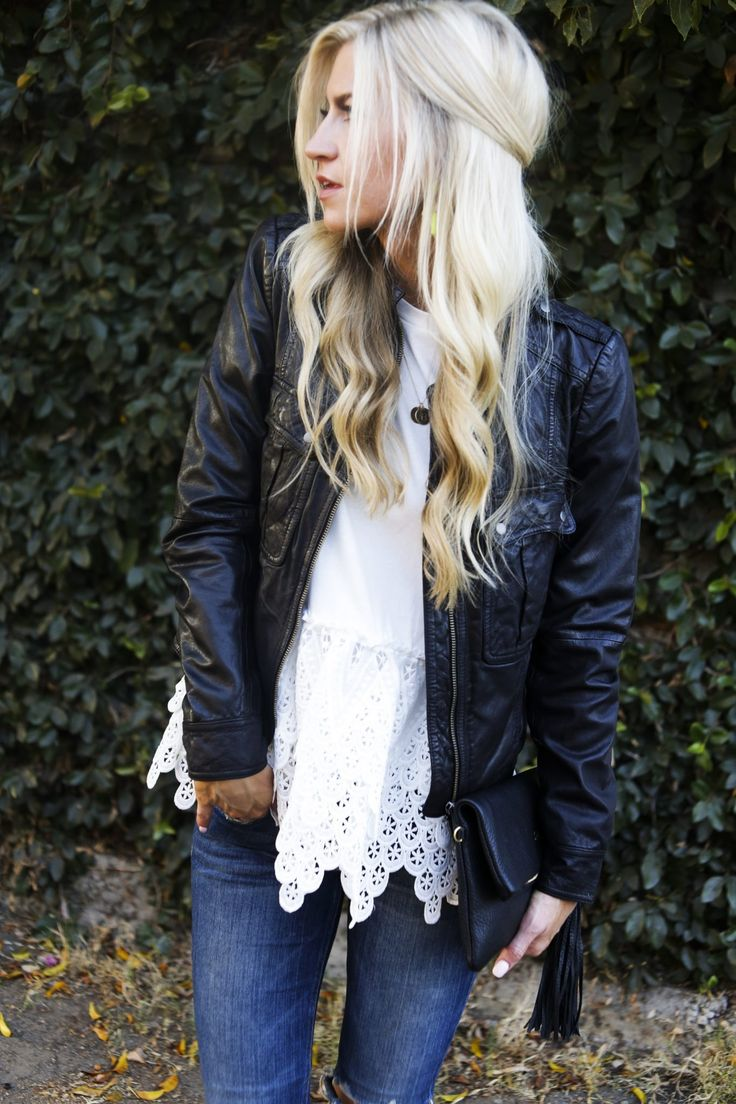 Leather + lace date night look for fall.
