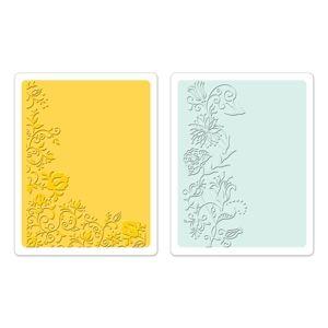 Sizzix Textured Impressions Embossing Folders 2PK - Floral Vines Set $10.99