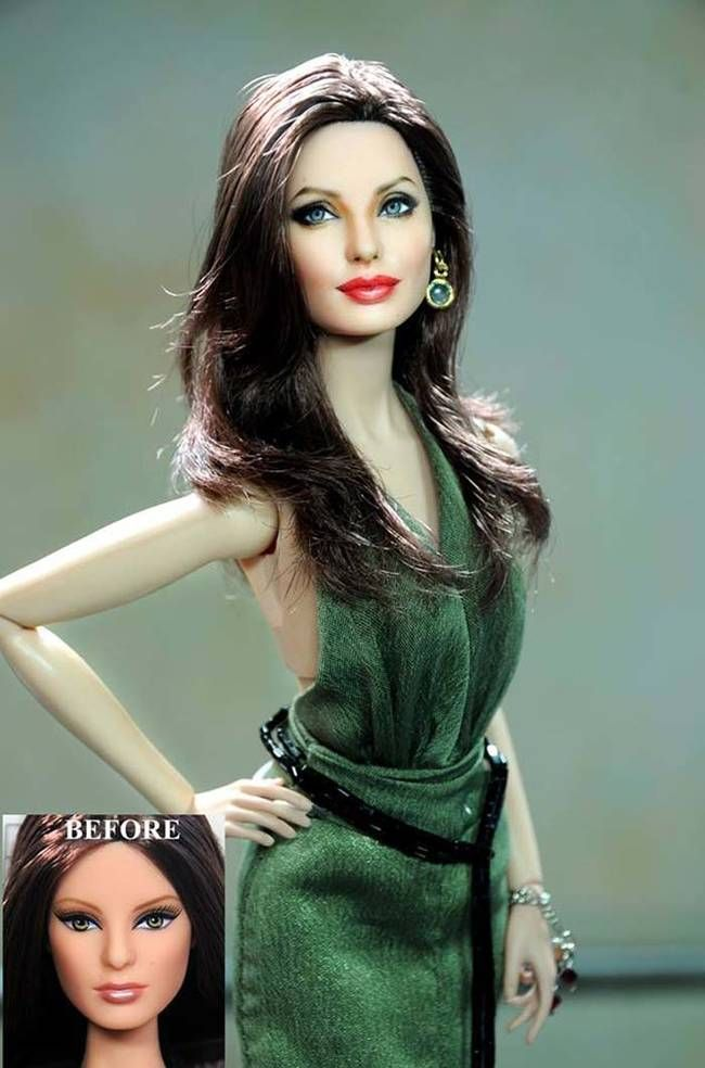 Angelina Jolie's strong cheek bones and full lips don't stand out in the factory production of this doll. Cruz gave them they attention they deserved.