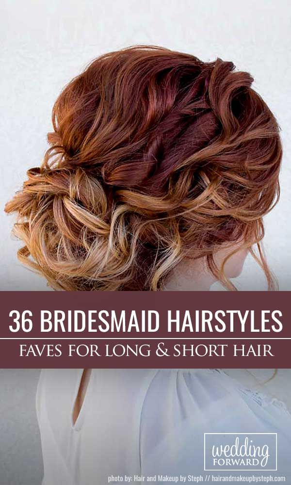 36 Hottest Bridesmaids Hairstyles For Short or Long Hair ❤ Thinking about bridesmaids wedding hairstyles for your big day? See more: http://www.weddingforward.com/hottest-bridesmaids-hairstyles-ideas/ #wedding #hairstyles