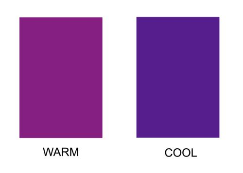 """violet - the """"warm"""" purple on the left makes yellow skin undertones glow."""