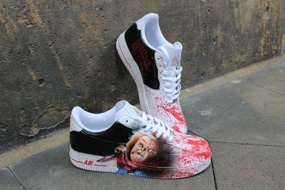 e65eebd15b52 Custom Nike Air Force One CHUCKY handpainted Sneaker Horror