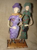 1998 Set of 2 Old Lady Old BEST FRIENDS Woman Cloth Doll dolls, handmade, CUTE!
