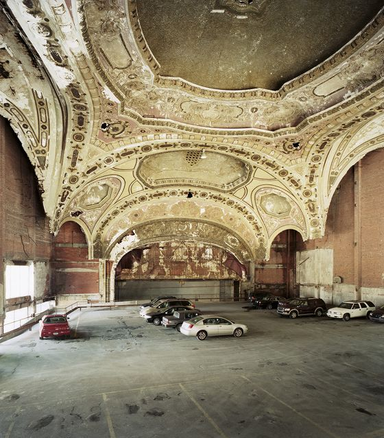 The 1929 Michigan Theater in Detroit now serves as a car park.