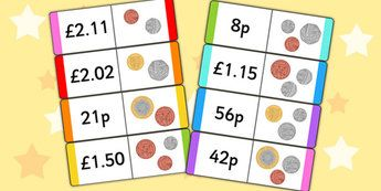 New British Coin Value Loop Cards - money, numeracy, maths, coins
