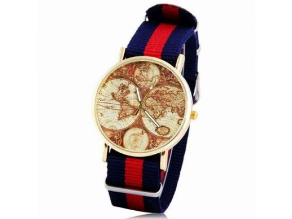 Mens Map Pattern Round Watch with Canvas Band