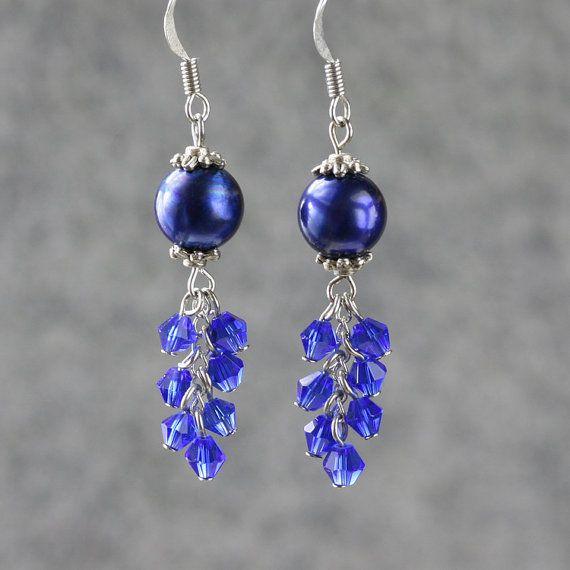 Pearl royal blue chandelier earrings handmade by AnniDesignsllc, $9.95