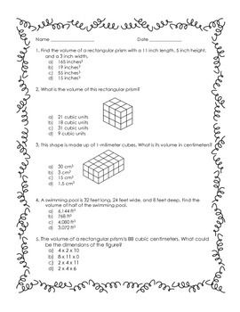 FREE! 5 multiple choice questions about finding volume for 5th graders. Asks students to find volume using multiple steps and the conversion of units.This is a sample of questions that are part of a larger 5th grade practice exam in measurement.  Make sure to follow me at https://www.teacherspayteachers.com/Store/Lisas-Learning-Shop