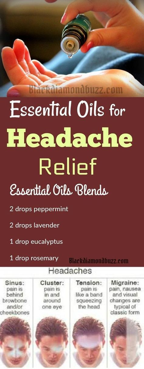 Essential Oils for Headache Relief - If you are suffering frequently from several types of headaches — migraines, sinus, and tension. Try this essential oil blend in your diffuser for quick relief from headache. Add this essential oil blend to your diffuser -you can also mix it with a carrier oil, olive oil, in a roller bottle to use topically. Click on the image for more simple recipes for your diffuser.