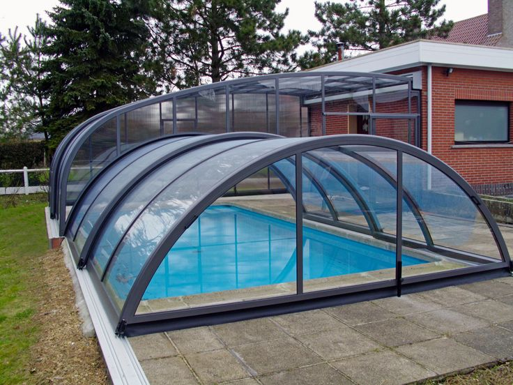 Interesting COMBI pool enclosure installed to house wall.
