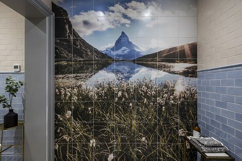 Bespoke tiles made to order from TileStyle. One of the clients favourite photos was printed onto the tiles.