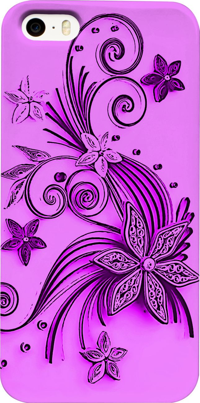 Violet, purple floral ornament, flowers and stars pattern phone case. (purple, violet flowers, floral abstract pattern on saturated, dark pink color fabric, car