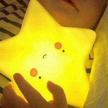 Портативный LED Милый Луна Звезда Вс Лампы Night Light Для Детей Детская Спальня Ванная Комната Ночное Освещение Со Сменными 3xLR44 Батареи