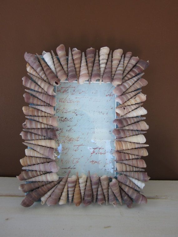 Seashell Picture Frame Turritella Shells by SeeHaven on Etsy, $35.00