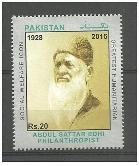 THIS BEAUTIFUL POST STAMP WAS ISSUED ABOUT ABDUL SATTAR EDHI PHILANTHROPIST…