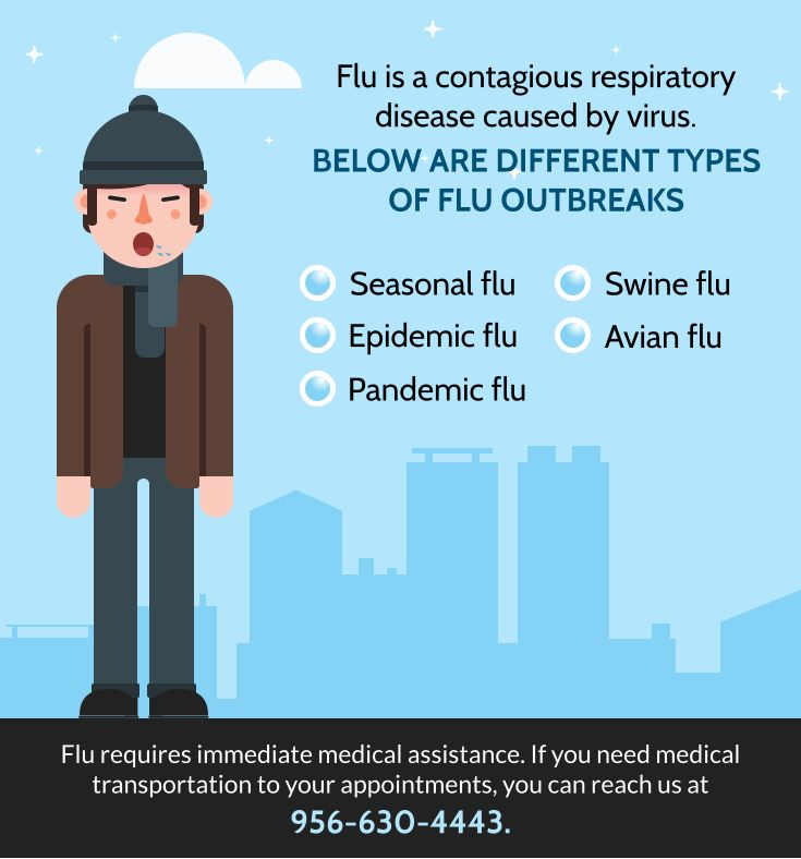 Flu is a contagious respiratory disease caused by virus. Below are different types of flu outbreaks:    Seasonal flu  Epidemic flu   Pandemic flu   Swine flu   Avian flu     Flu requires immediate medical assistance. If you need medical transportation to your appointments, you can reach us at 956-630-4443.