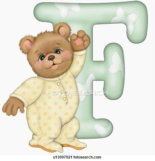 The capital letter F with teddy bear