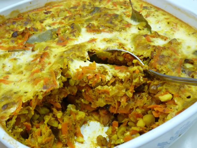 """Vegetarian bobotie - a variation of traditional bobotie, usually made with lamb. Recipe on page 55 of our book, """"South African Cooking in the USA""""."""