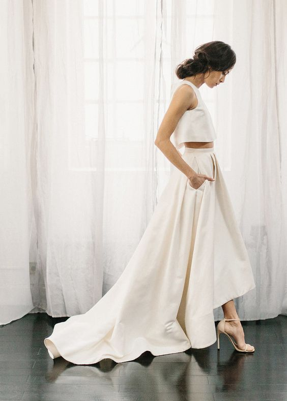 41 Edgy Modern Wedding Ideas You'll Love: minimalist bridal separate with a high low skirt